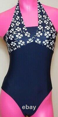 01 Chanel Vintage Swimsuit 34 36 38 2 4 6 Bathing Bikini Suit Top Piece Coverup