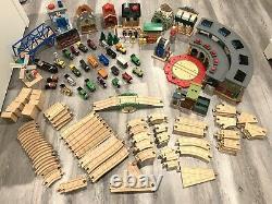 150+ pc Thomas & Friends Train Set Lot Wooden Railway Tracks Vehicles Bridges