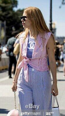 $ CHANEL La Pausa Logo Crop TOP CC Striped 34 36 38 2 4 6 T Shirt Dress Swim S M