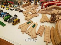 HUGE LOT- Thomas Wooden Railway 30+ LBS 200 PIECES! Track Buildings Trains Cars