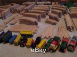 HUGE LOT Wooden train set BRIO Thomas the Tank Engine Track Cranky 220+ Pieces