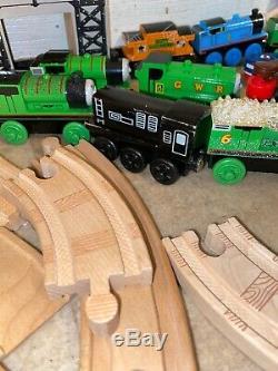HUGE lot Thomas The Train Wooden Railway, Tracks, Trains, Bridges Crane 80+ Lot