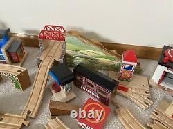 Huge Lot Thomas Train Wooden Railway Tracks Bridges Buildings Trains Fair to EUC
