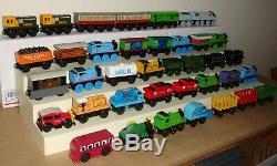 Huge Lot of 38 THOMAS THE TANK ENGINE Wooden / Wood Railway Trains & Tenders EX