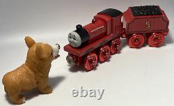 Thomas Wooden Metallic Red James Special Edition Train Set Engine Tender Railway