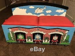 Thomas the Tank Engine Storage Bin/ Bench / Chest with Tracks and Trains