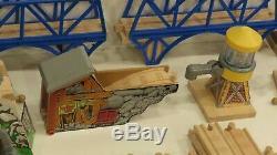 Thomas the Tank Wooden Train Lot Vtg 20 Trains Scrub & Shine 2 Suspension Bridge