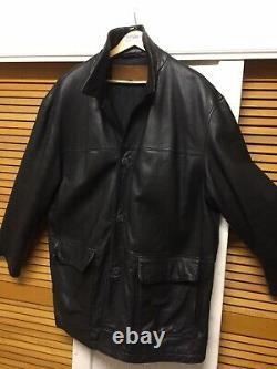 Timberlands Weather Wear Mens Knees Length Black Genuine Leather Jacket Size XL