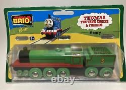 Vintage BRIO BRAND Thomas Wooden Train Set Henry Railway Engine Tender NIP